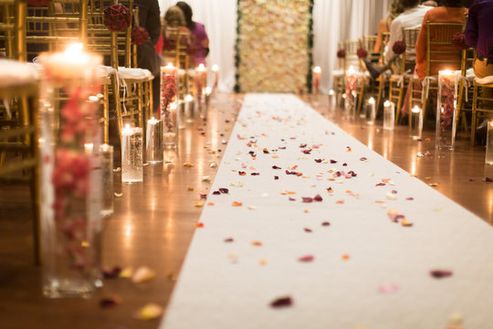 Wedding Aisle with candles and pedals