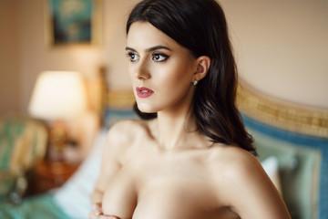 Fashionable female portrait of cute lady indoors