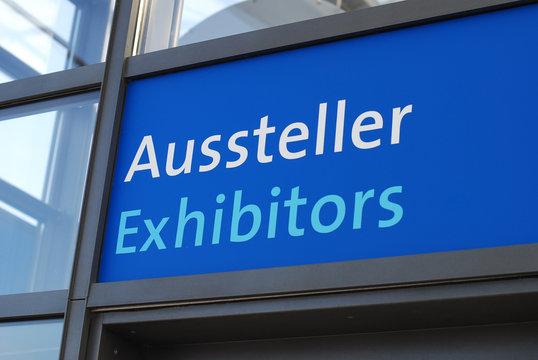 Rectangular blue aussteller exhibitors sign
