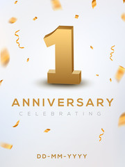 1st Anniversary gold numbers with golden confetti. Celebration 1 anniversary event party template