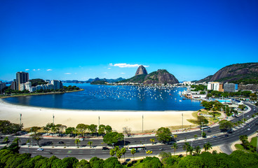 Exotic mountains. Famous mountains. Mountain of the Sugar Loaf in Rio de Janeiro, Brazil South America. Panoramic view of boats and yachts in the marina.  Wall mural