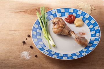 Fried chicken legs with green onions and mustard- Image