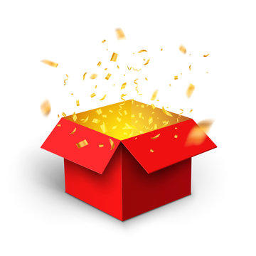 Red gift box confetti explosion. Magic open surprise gift box package decoration