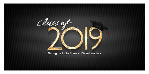 Vector text for graduation gold design, congratulation event, T-shirt, party, high school or college graduate. Lettering Class of 2019 for greeting, invitation card