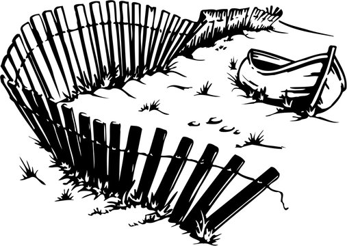 Boat on Beach Vector Illustration