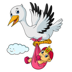 Cartoon stork with baby girls