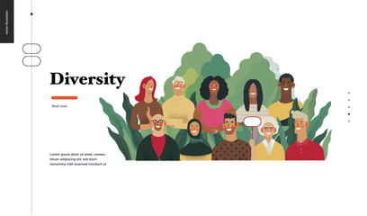 Technology 2 - Diversity - modern flat vector concept digital illustration of various people presenting person team diversity in the company. Creative landing web page design template