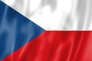 Czech flag: national flag of the Czech Republic. Fabric in the wind. Illustration.