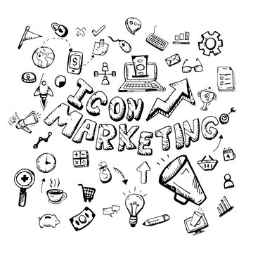icon. Hand drawn.  marketing themed doodle. Vector flat illustration. on white background