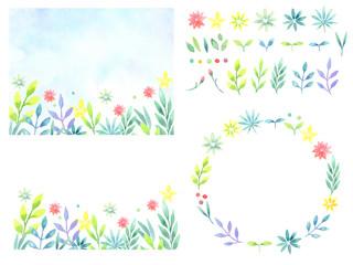 水彩で描く植物のフレームセット