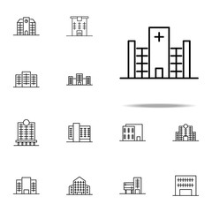 Building, hospital icon. Building icons universal set for web and mobile