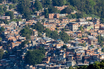 Aerial view of Favela da Rocinha, Biggest Slum in Brazil on the Two Brothers Mountain in Rio de Janeiro