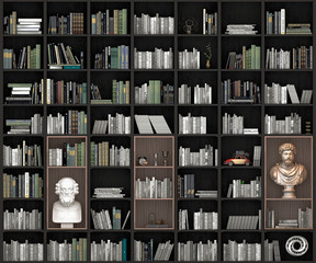 Front view of a bookcase, spelling, 3d illustration
