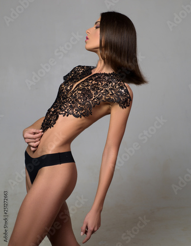 d1ed5e42e Young and beautiful brunette girl in sexy lingerie. Beautiful young woman  with amazing body.