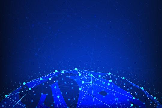 Blockchain technology futuristic hud banner with world globe