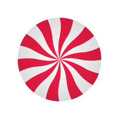 Peppermint cream candy. Spiral red and white form. Sweet shop design.