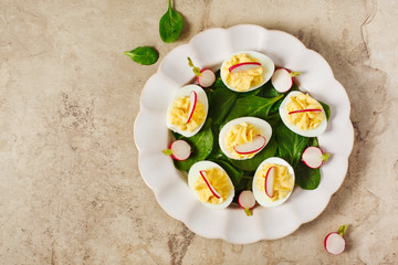 Deviled Eggs as an Appetizer, top view
