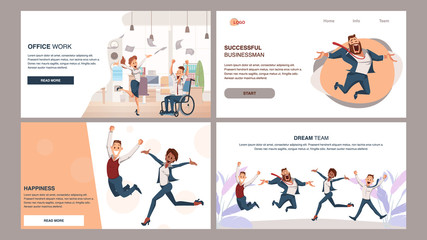 Happy Successful Coworking Business Team Jump Up