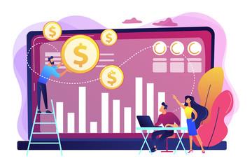 Data monetization concept vector illustration.