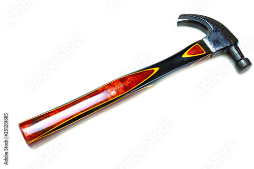 Traditional curved claw hammer on white background