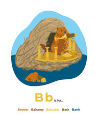 Full English alphabet from A to Z, pictures for letter B, the colorful version.