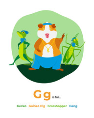 English alphabet Colored cartoon with letter G for children, with pictures to these letter with gecko, guinea pig, grasshopper, gang, hip-hop, gold. - Vector