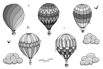 Vector isolated balloons on white background. Many striped air balloons flying in the clouded sky. Patterns of clouds and birds flying in the sky. Travel and vacation. Wide horizons.