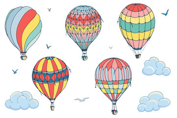 Vector isolated balloons on white background. Many differently colored striped air balloons flying in the clouded sky. Patterns of clouds and birds flying in the sky. Travel and vacation.