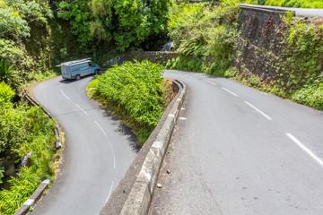 Route des Thermes, cirque de Cilaos, île de la Réunion
