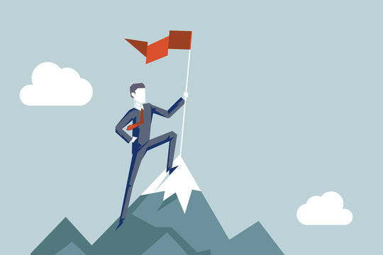 Conquering heights flag businessman conqueror character achievement top point aoal mountain background business concept flat design vector illustration