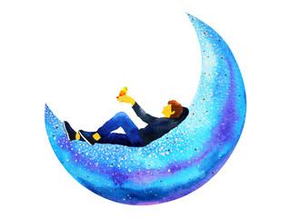 man sitting on blue moon watercolor painting illustration design