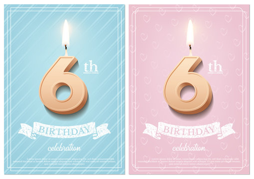 Burning number 6 birthday candle with vintage ribbon and birthday celebration text on textured blue and pink backgrounds in postcard format. Vector vertical sixth birthday invitation templates.