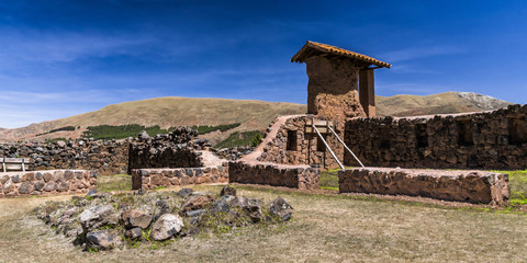 The wall of the temple of the Incas in the Andes