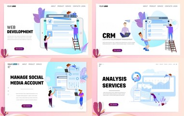 Set of business concept website templates or landing page. CRM and management