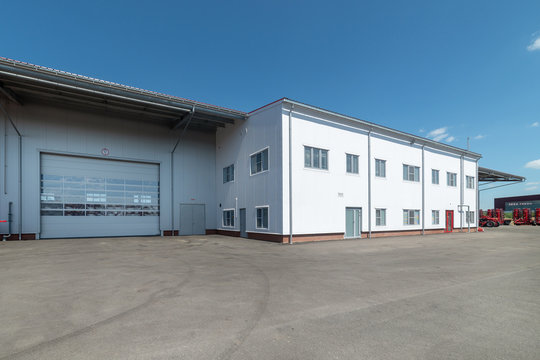 Large industrial building, view from the outside. Industrial architecture