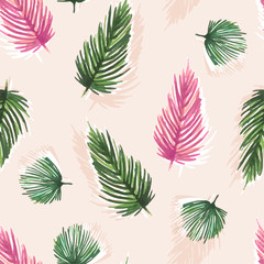 Colorful sweet Watercolor seamless pattern with tropical leaves: palms, monstera. Beautiful allover print with hand drawn exotic plants,botanical