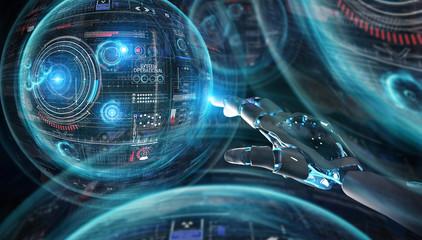 Intelligent robot machine using digital screens interface 3D rendering