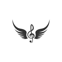 Music note wing icon design template vector isolated