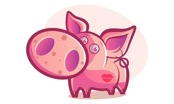 Vector cartoon illustration of cute pig with a lipstick mark. Isolated on white background.