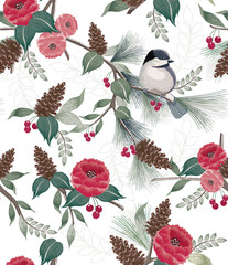 Wall Mural -  Vector illustration of a seamless floral pattern in winter for Happy New Year and Merry Christmas cards. A beautiful hand drawn illustration with cute birds on branches.