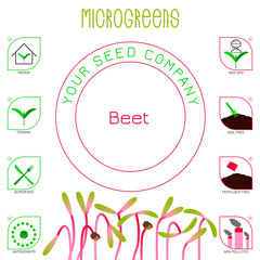 Microgreens Beet. Seed packaging design, text, icons