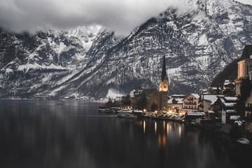 Evening view at Hallstatt, part of the UNESCO Word Heritage.
