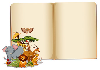 Set of animals with blank book