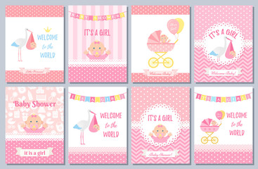 Baby Shower card. Vector Baby girl design. Welcome banner. Cute born party background. Birth template invite. Pink happy greeting poster with kid, stork, pram, polka dot print. Cartoon illustration