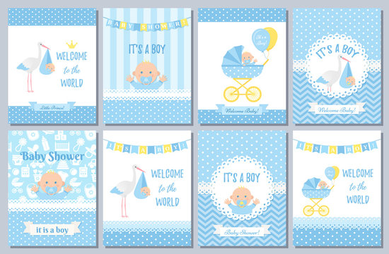 Baby Shower card. Vector Baby boy design. Invite banner. Cute birth party background. Welcome born template. Blue happy greeting poster with kid, stork, pram polka dot print. Cartoon flat illustration