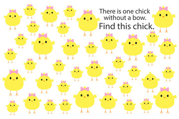 Find chick without bow, easteras fun education puzzle game for children, preschool worksheet activity for kids, task for the development of logical thinking and mind, vector illustration