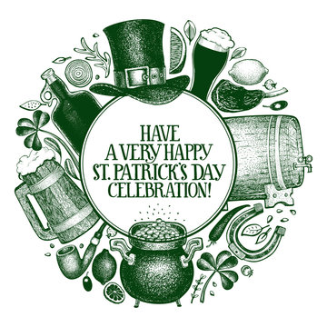 St. Patricks day design template. Vector hand drawn illustrations. Irish vintage background. Can be use for menu cover or packaging.