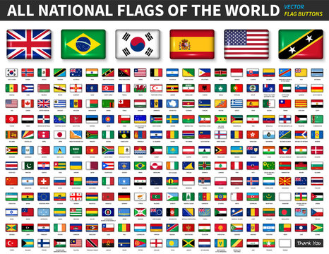 All national flags of the world . Shiny convex button design and ratio 4 : 6 . Elements vector .
