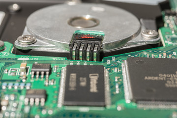 "Close-up view of 3.5"" hard disk"