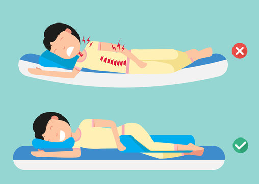 Orthopedic pillows,for a comfortable sleep and a healthy posture,Best and worst positions for sleeping, illustration, vector
